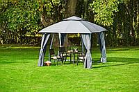 Тканевая беседка большая из стали серая (шатер 3* 3 метра) с боковыми панелями (стальной каркас )