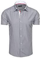 """Стильная мужская рубашка с коротким рукавом """"Fieldspar"""" в полоску Бело-черная, Размер S"""