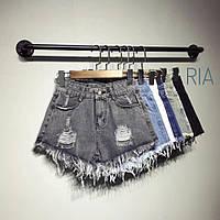 Женские модные джинсовые шорты высокой посадки (расцветки), фото 1