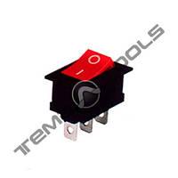 Перемикач 1-клавішний чорний КП-4-220В вузький, 3 контакту, ON-OFF або ON-ON з фіксацією