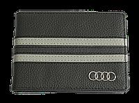 Кожаная обложка для прав Carrs с логотипом AUDI черная (AU01)