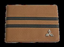 Кожаная обложка для прав Carrs с логотипом MITSUBISHI коричневая (MIT11)