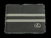 Кожаная обложка для прав Carrs с логотипом LEXUS черная (LEX13)