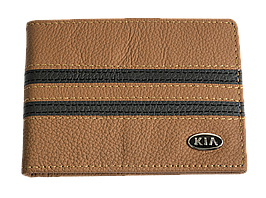 Кожаная обложка для прав Carrs с логотипом KIA коричневая (KIA05)