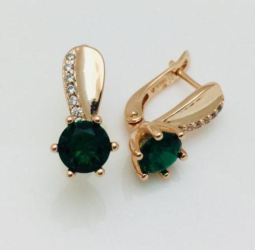 Серьги Fallon Хельга зеленые позолота 18К