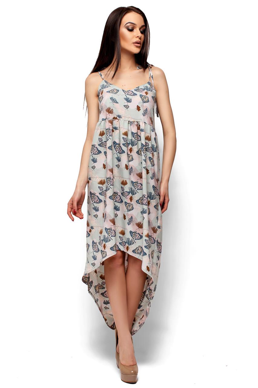 f8682e76bf8 Летнее платье асимметричное от груди свободное на бретельках с принтом  ментол -