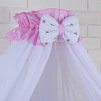 Балдахин в кроватку с оборкой розового цвета в белые звёздочки