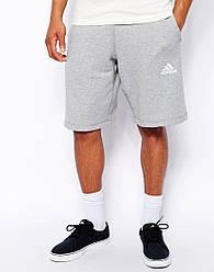 Шорты мужские Adidas ( Адидас ) серые белый значёк