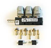 Газовые форсунки Rail IG1 3 цил. 2 Ом с калибровочными штуцерми и в коллектор, RAIL