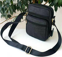 Мужская кожаная сумка через плечо черная. Барсетка мужская кожаная, фото 1