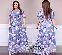 Женское нарядное платье  в пол, ткань софт армани. Размер 50-52, 54-56, 58-60, 62-64. В наличии 2 цвета, фото 1