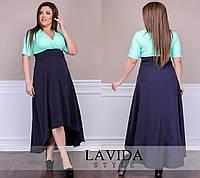 Нарядное женское платье с удлиненной спинкой, ткань костюмка. Размер 50-52, 54-56, 58-60, 62-64. , фото 1