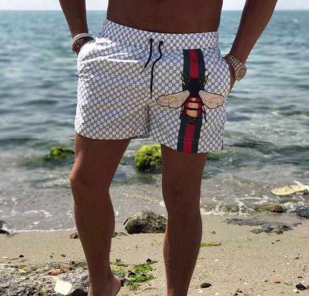 """Короткие мужские шорты на резинке """"GUССI"""" с карманами"""
