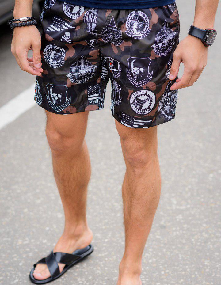 "Короткие мужские шорты на резинке ""MILITARY"" с карманами"