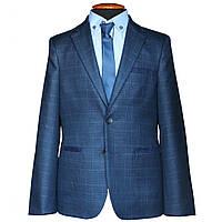 Пиджак для мальчика подростковый Филадельфия синий  в клетку с налокотниками