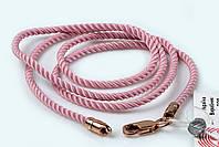 Шнурок Милан крученый розовый с позолотой