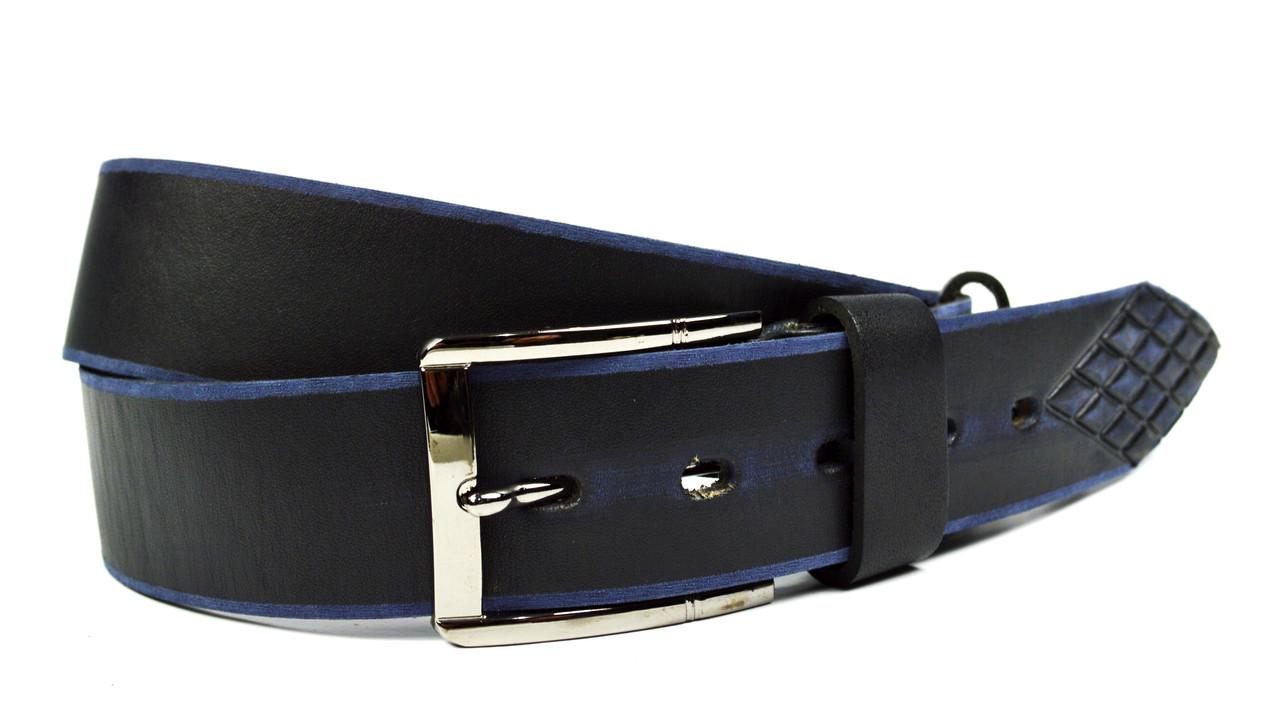 Черный мужской кожаный ремень Masco
