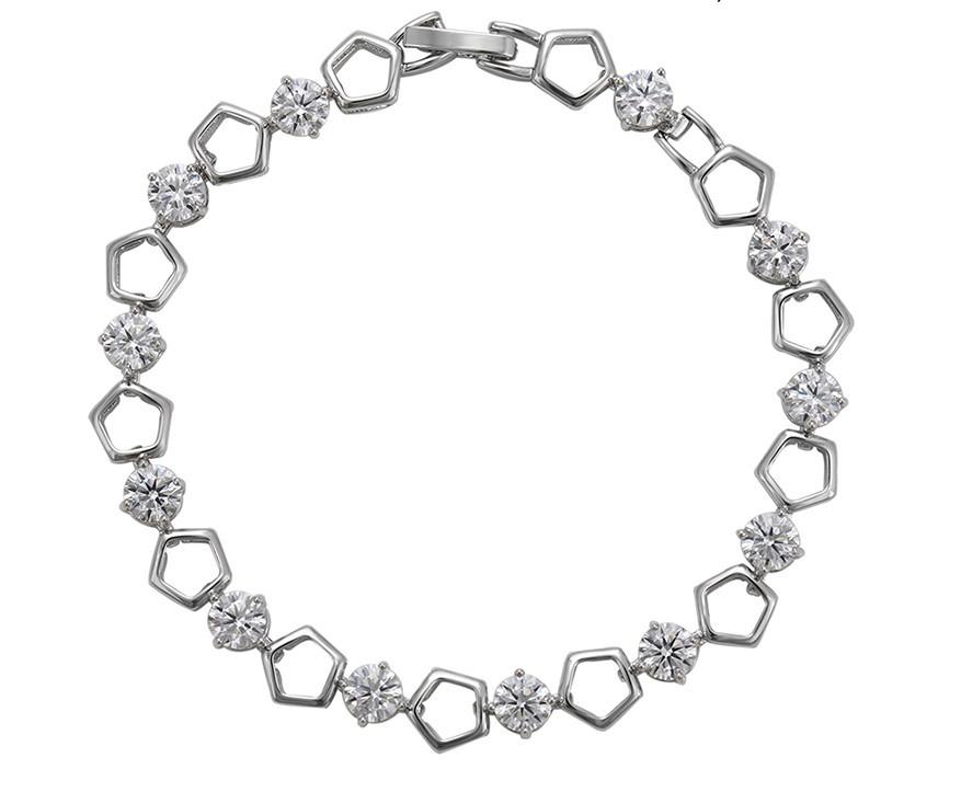 Родированный браслет Sofique с пятиугольниками и фианитами белого цвета 72277