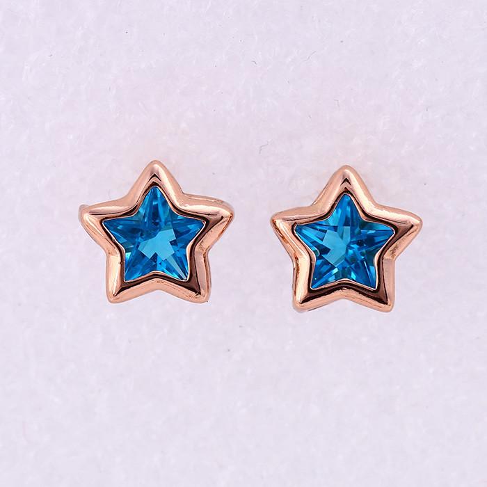 Серьги Sofique Звездочки с голубым фианитом 25657
