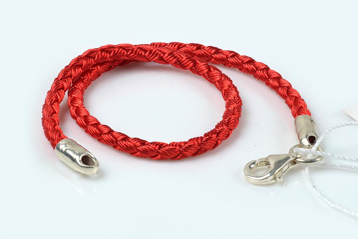 Шелковый браслет красная нить с серебряным замком