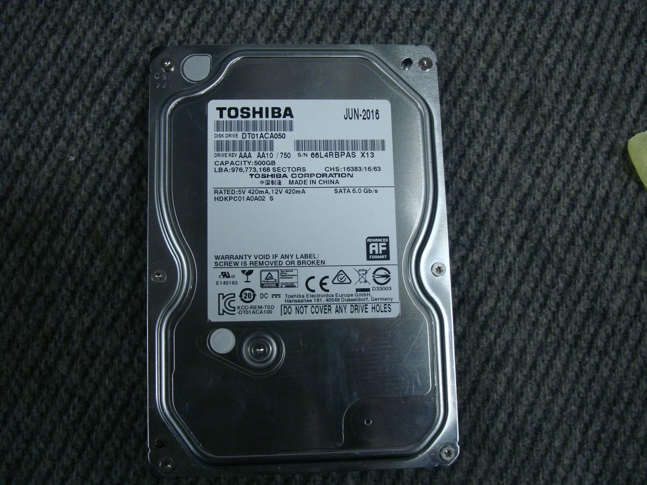 Жесткий диск Toshiba 500Gb 7200RPM SATAIII для компьютера