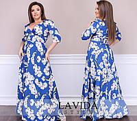 Женское нарядное платье в пол, ткань армани софт. Размер 50-52, 54-56, 58-60. В наличии 2 цвета, фото 1