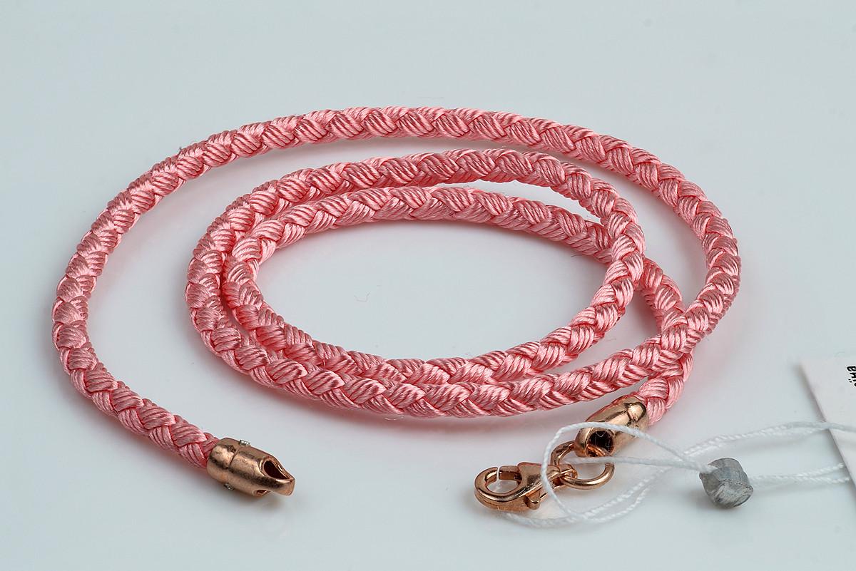 Розовый шнурок плетеный шелковый с позолотой