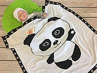 """Вязаный детский плед в кроватку/коляску  """"Панда"""" белый"""