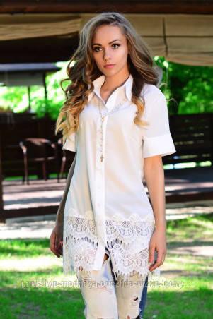 Сорочка жіноча біла з мереживами ошатна, сорочка молодіжна літня подовжена, сорочка блуза