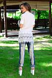 Сорочка жіноча біла з мереживами ошатна, сорочка молодіжна літня подовжена, сорочка блуза, фото 2