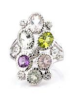 Кольцо серебряное с аметистом, хризолитом,празиолитом и розовым кварцем