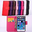Чехол книжка на iPhone 5/5s/SE экокожа с накладкой и с застежкой пластик,розовый, фото 3