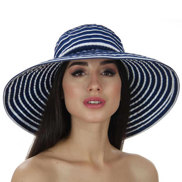 Капелюх синя жіночий в смужку з модельованими полями