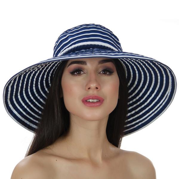 Шляпа синяя женская в полоску с моделируемыми полями
