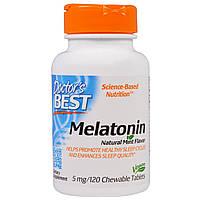 Мелатонин 5мг, Мятный вкус, Doctor's Best, 120 жевательных таблеток