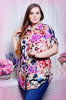 Рубашка женская большого размера цветная, рубашка штапель свободного кроя на пуговицах, фото 1