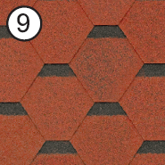 Битумная черепица Roofshield / Руфшилд Стандарт №9 (Красный с оттенением)