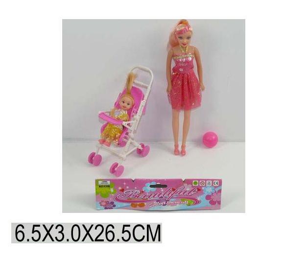 Лялька B10 (1001541) з дитиною, коляскою, аксес., в пак. 7*3*27 см