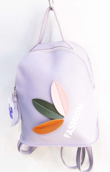 Бузковий рюкзак жіночий з аплікацією 23 х 20 см