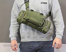 Армейская сумка через плечо на пояс с системой M.O.L.L.E подмумок на разгрузку Olive (104-olive), фото 3