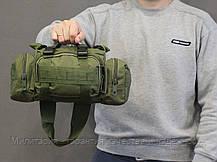 Армейская сумка через плечо на пояс с системой M.O.L.L.E подмумок на разгрузку Olive (104-olive), фото 2