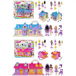 Будиночок 2 види, розкладний, з ляльками, дзеркалом, фен, стільчик, сукні, аксес., TM622AB в кор. 34*8*30 см