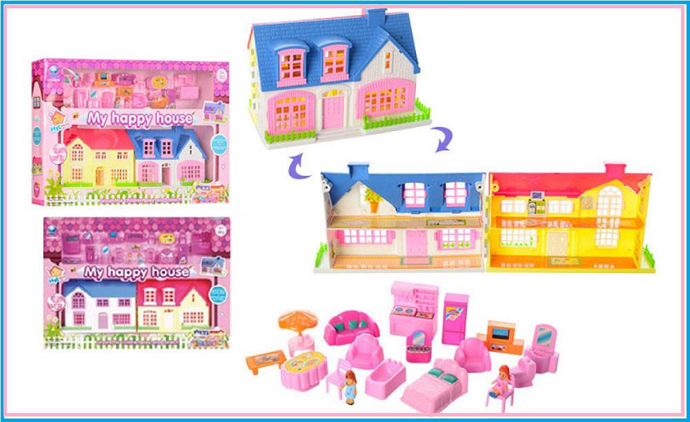 Будиночок 2 види, розкладний, з ляльками та аксес., 8056 в кор. 35*23*4,5 см