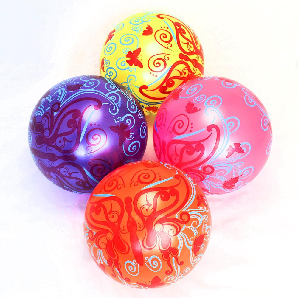 """М'яч 9"""" BT-PB-0100 метелики 4 кольори 60 г сітка"""