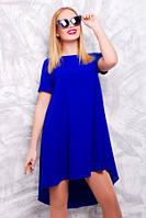 Платье синее со шлейфом двойное не просвещается, платье красивое свободного покроя летнее, фото 1