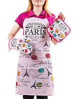 """Набор кухонных аксессуаров: фартук, прихватка, рукавица """"Привет, Париж!"""""""