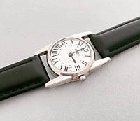 Серебряные женские часы на кожаном ремешке БР-00038/1