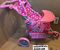 Детская прогулочная трехколесная коляска для кукол Melogo 9377 B-T со столиком для кормления