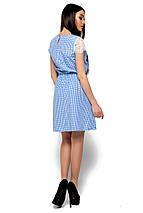 Летнее платье короткое талия на резинке рукав короткий кружевной в клетку голубое, фото 3