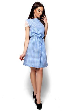 Летнее платье короткое талия на резинке рукав короткий кружевной в клетку голубое, фото 2